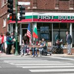 The Haralanovis - just before the official ceremony - unveiling Honorary Aleko Konstantinov Way at Irving Park and Hamlin in front of the First Bulgarian Center - view from Hamlin Ave. © Ivan Haralanov – FotoDetail 2017